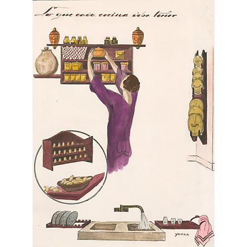 Deco Kitchen Gouache, 1929