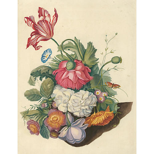 18th-C. Still Life w/Flowers & Butterfly