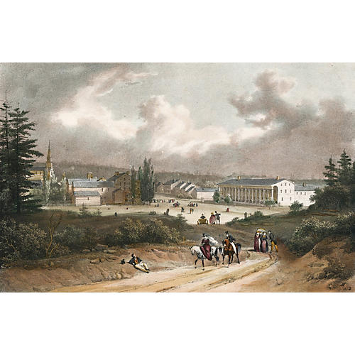 Hand-Colored View of Saratoga Springs