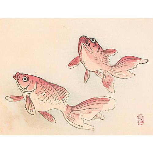 Japanese Goldfish Woodblock, C. 1900