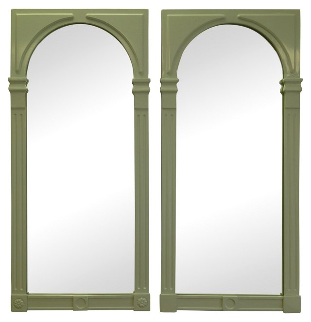 Pale Blue Lacquered Drexel Mirrors, Pair