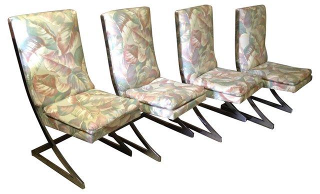 Milo Baughman Chrome Z-Chairs, S/4