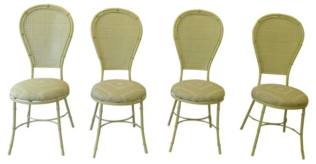 Celedon Faux-Bamboo Patio Chairs, S/4