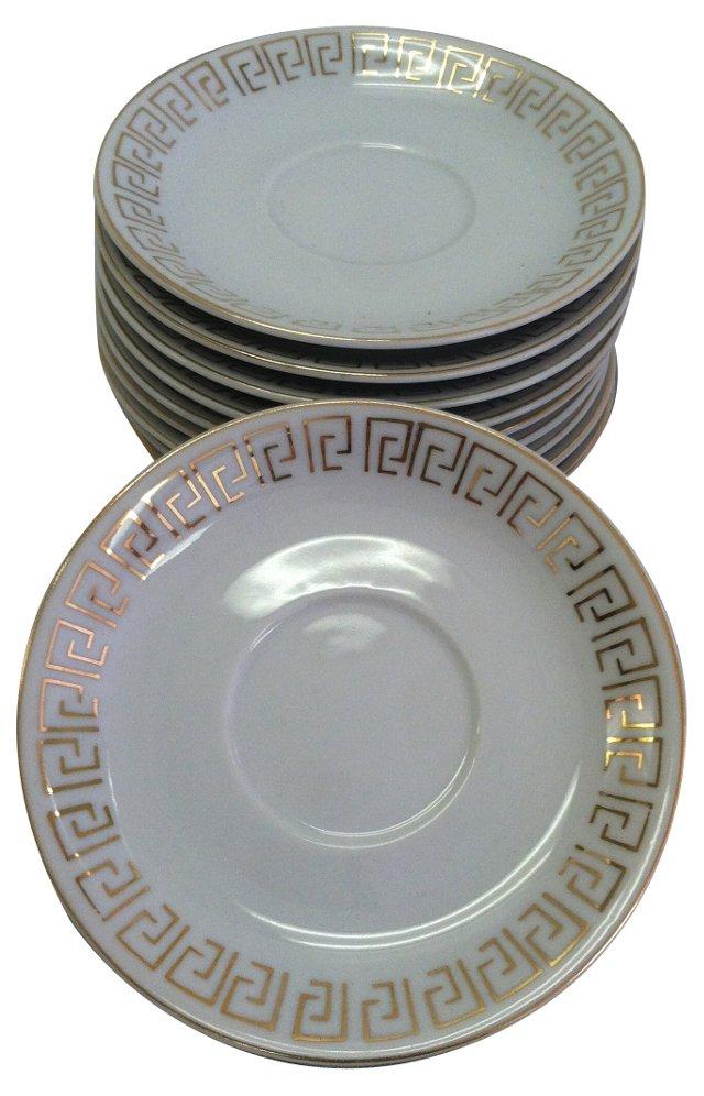 Japanese Greek Key Dessert Plates, S/10