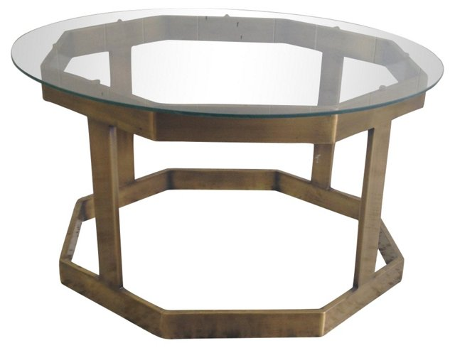 Octagonal Brass & Glass Cocktail Table