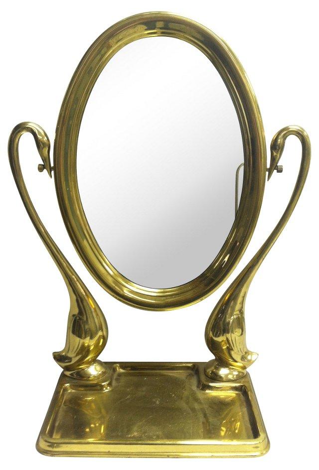 Brass Swan Vanity Mirror