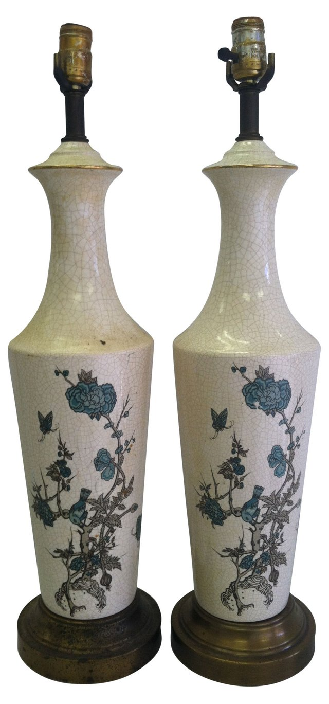 Chinoiserie Lamps, Pair