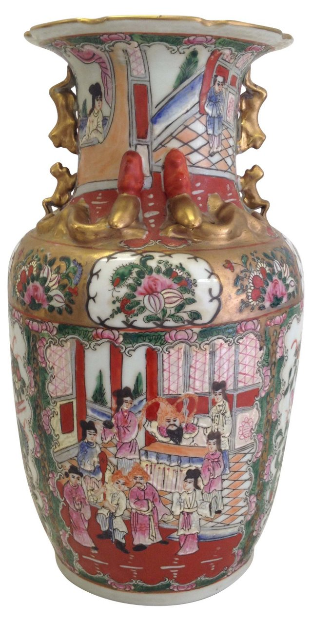 Famille Rose Vase w/ Foo Dog Handles