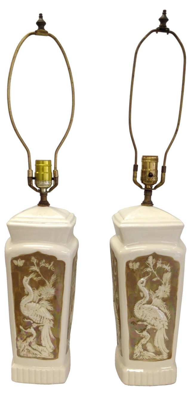 Asian Peacock Lamps, Pair