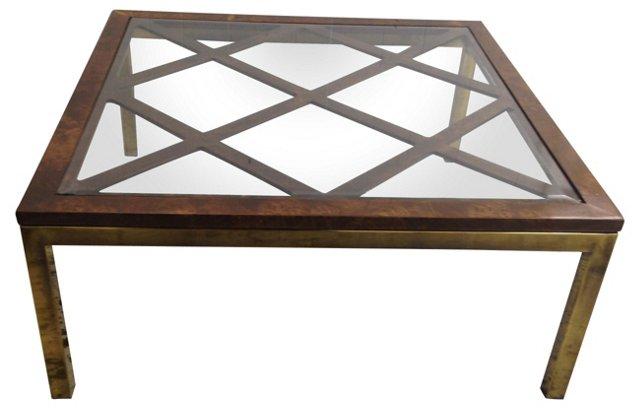 Milo Baughman-Style  Burl & Brass Table