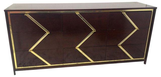 Brass-Inlaid Chevron Dresser