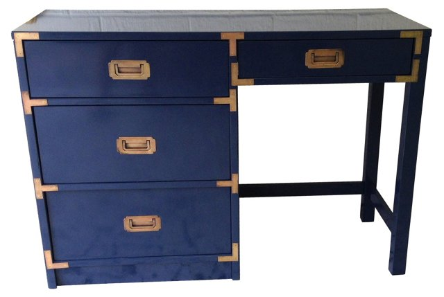 Navy Lacquered Campaign-Style Desk