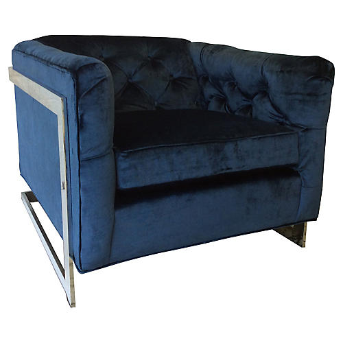 Chrome & Cobalt Velvet Tufted Chair