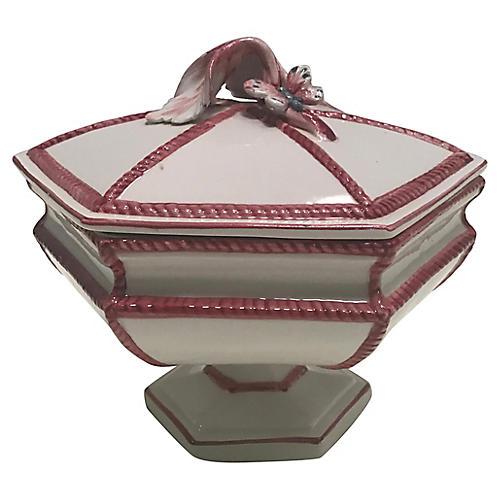 Italian Pink & White Compote Dish