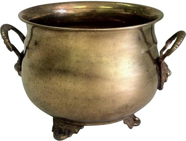 Brass Lion Head Cachepot
