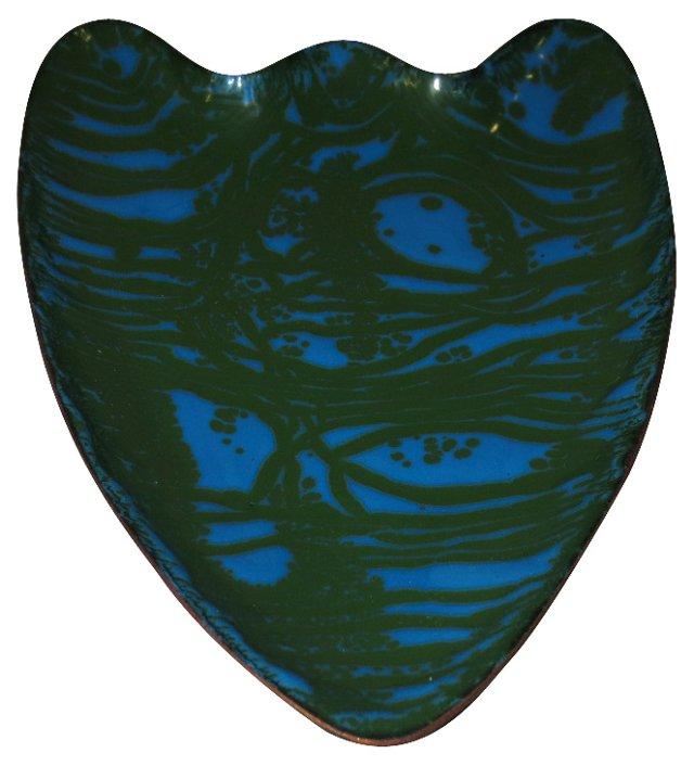 Shield-Shaped Copper Enamel Dish