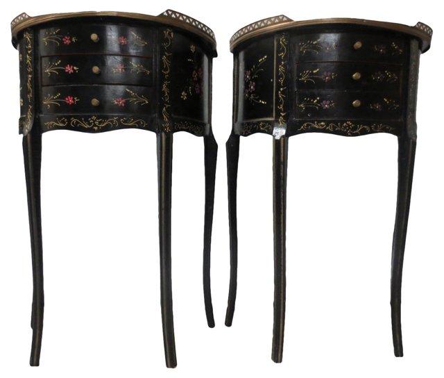 Black Painted Side Tables, Pair