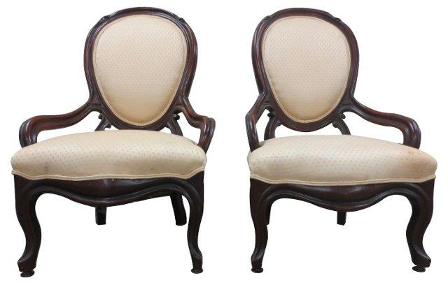 Victorian  Armchairs, Pair