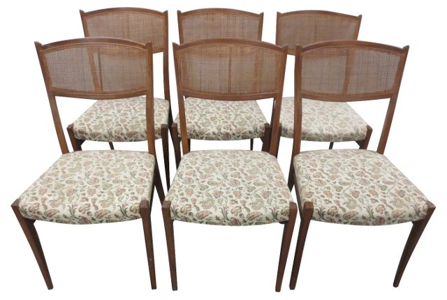 Mid Century Cane-Back Chairs, S/6