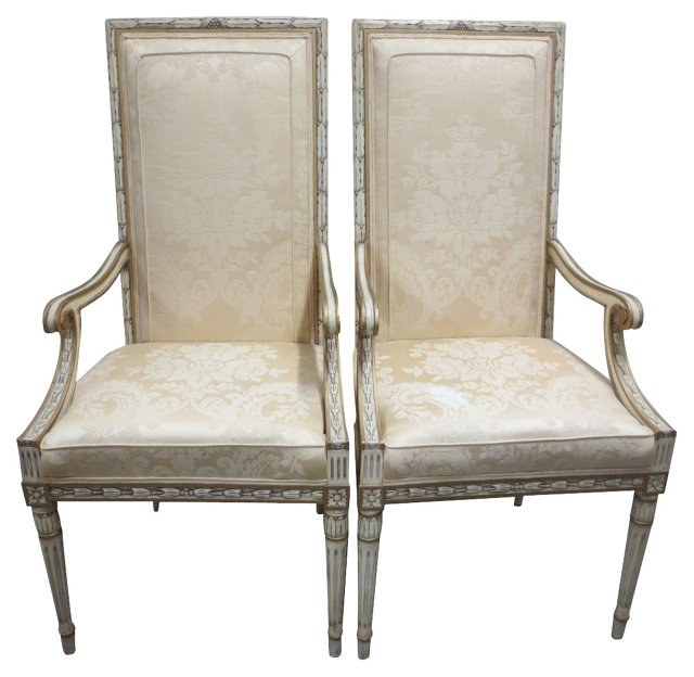 Ivory Damask Armchairs by Karges, Pair
