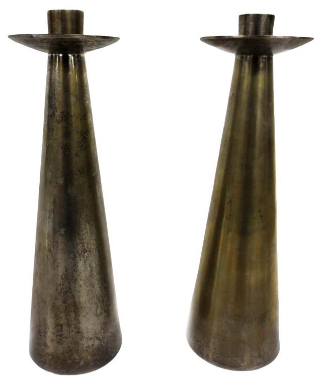 Brass Mid Century Candleholders, Pair