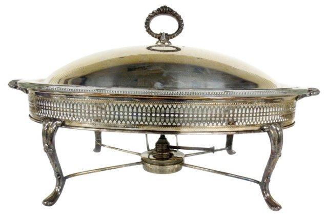 Silverplate Chafing Dish w/ Glass Insert
