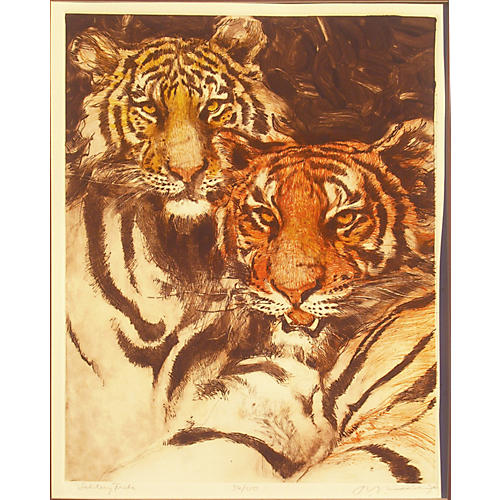 Study of Two Tigers, 1980