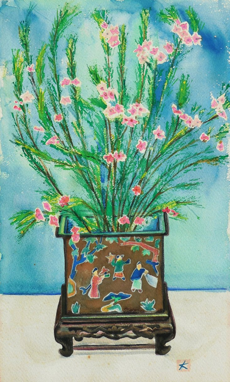 Flowers in a Chinese Enamel Vase, 1960s