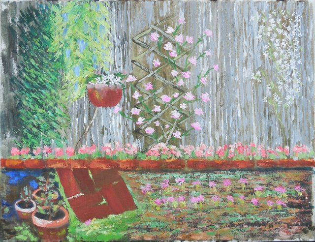 Garden Scene by Janet Darcey, 1988