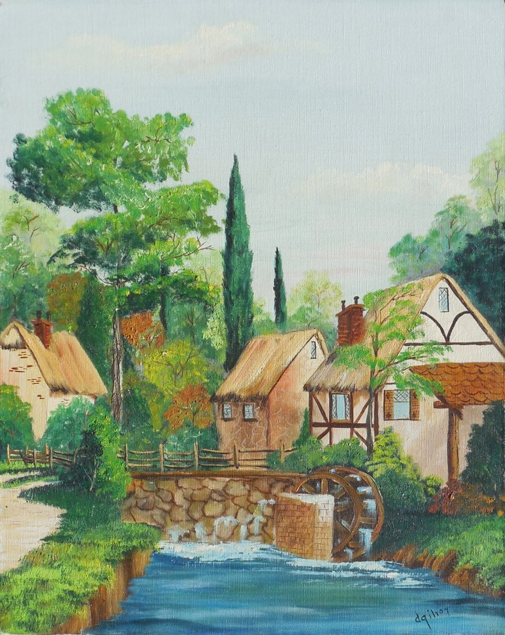 Old Mill On a  River by D. Gilroy, 1970s