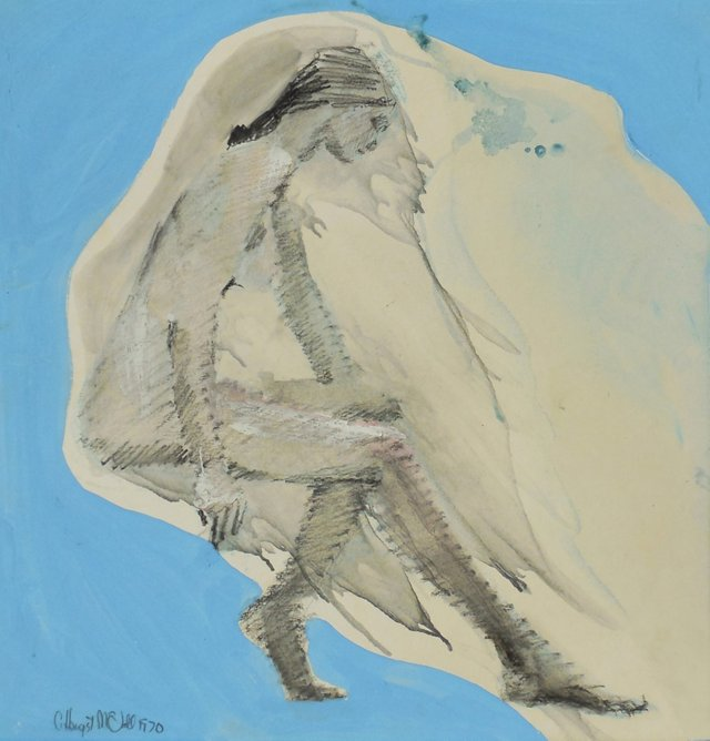 Seated Nude, Blue Sky, 1970