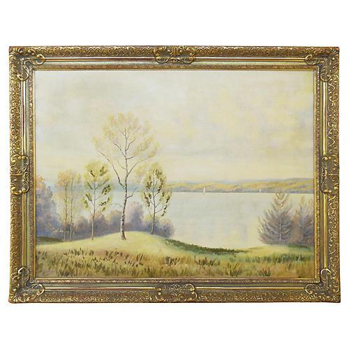 Sunlit Lake Landscape, C. 1960