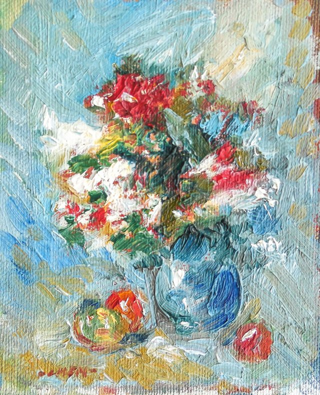 Still Life of Flowers and Apples