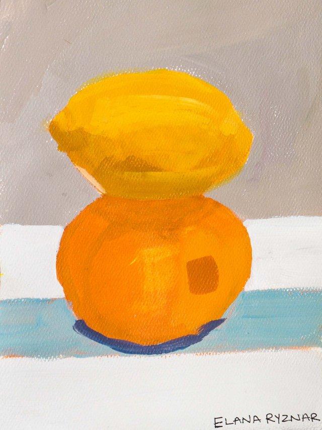 Still Life of a Lemon & an Orange
