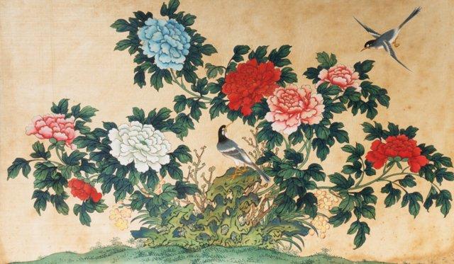 Songbirds Among Peonies, 1920
