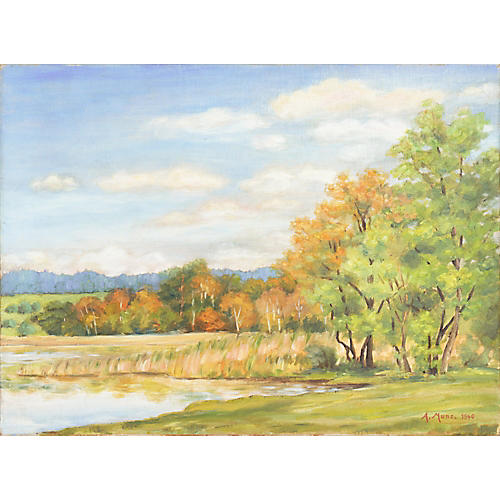 Lakeside Landscape by A. Munz, 1940