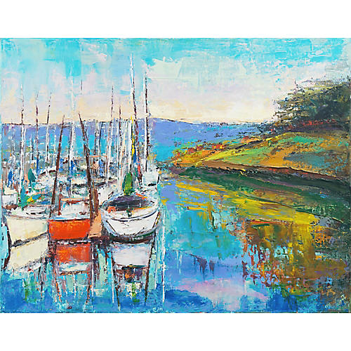 Sailing Boats at Sunset by L.A., C.1980