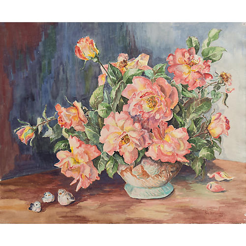 Still Life of Roses by Fay Kennedy, 1953