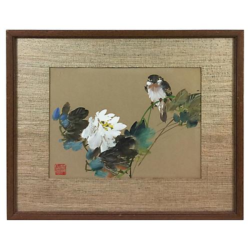 Songbird w/ White Prunus Blossom, C.1960