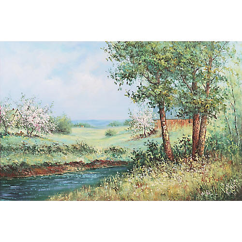 Spring Blossoms in a River Landscape