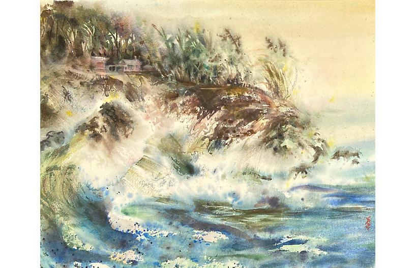 Breaking Waves, Coastal Cottage, 1960s
