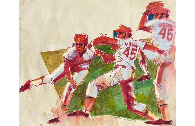 Baseball Pitch by Warren Lamm, 1971