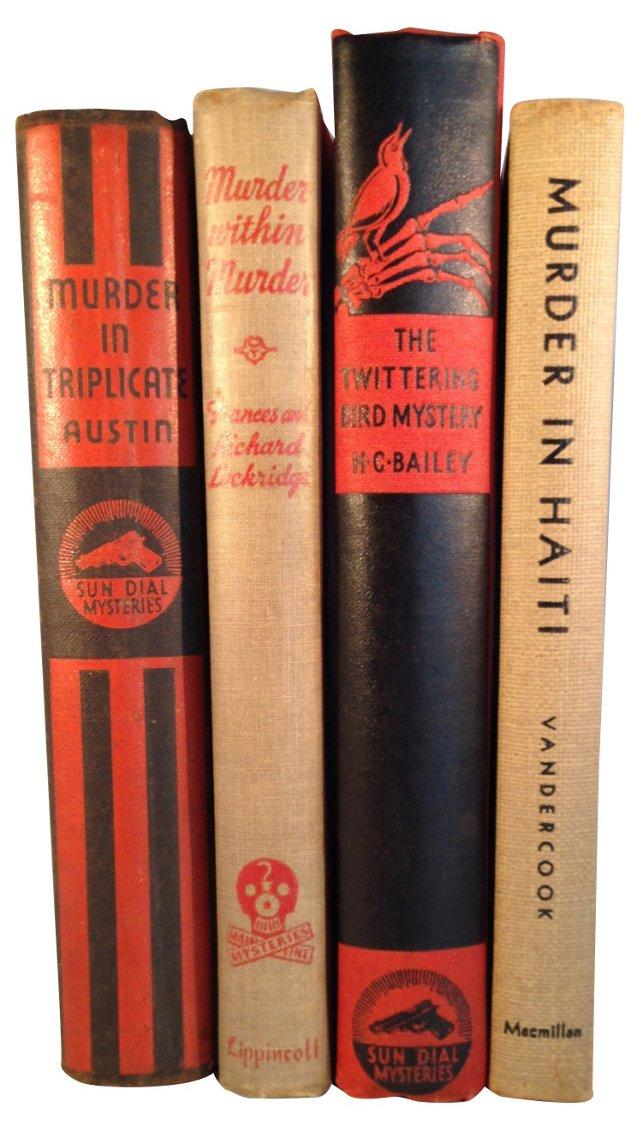 Decorative Mystery Book Set, S/4