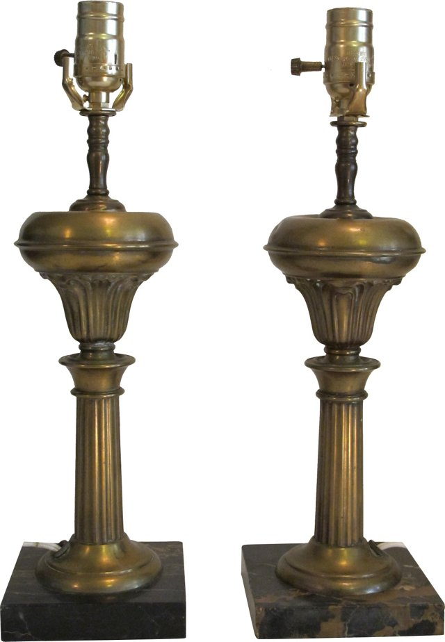 Victorian-Style Brass Lamps, Pair
