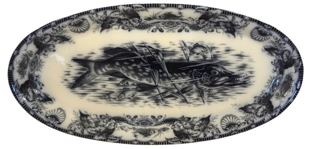 Wedgwood Mulberry Fish Platter, C. 1880