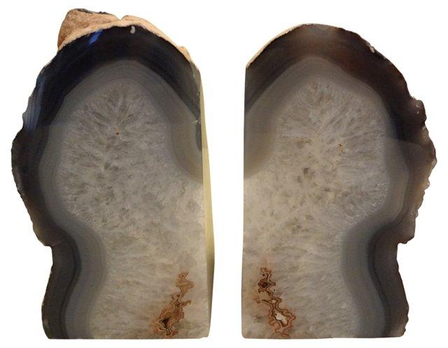 Slate Blue Crystal Geode Bookends