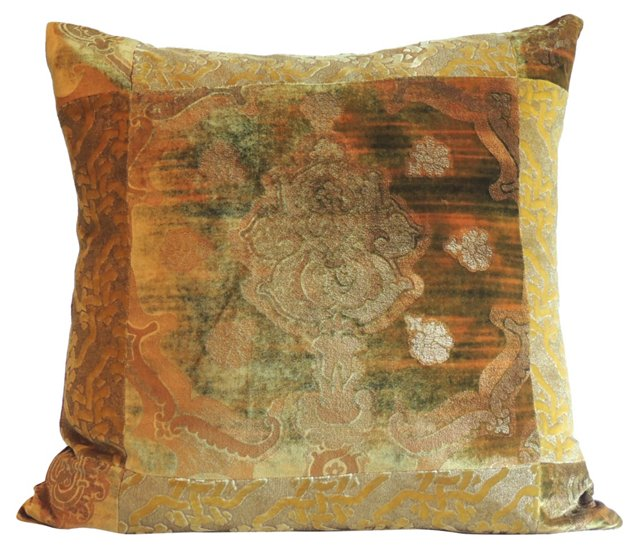 Vintage Fortuny Silk Velvet Pillow