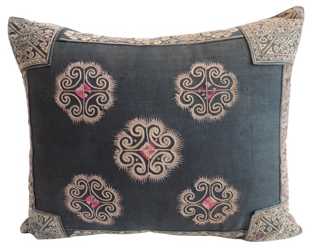 Pillow w/ 19th-C. Chinese Embroidery
