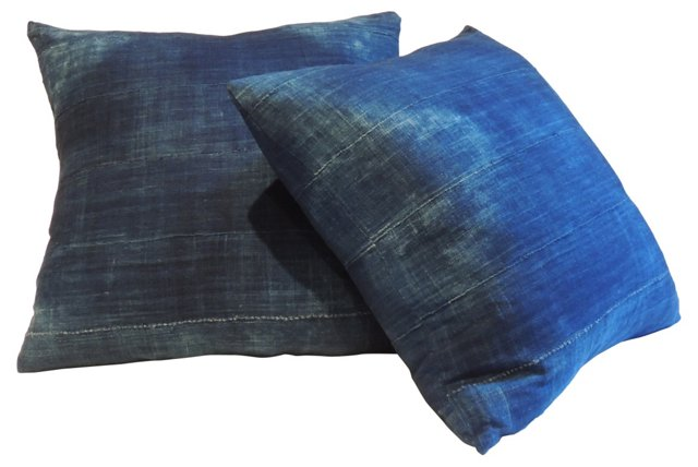 African Indigo Pillows, Pair