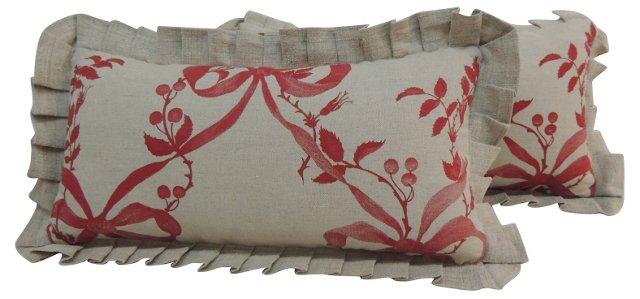 French Ribbon Pillows, Pair
